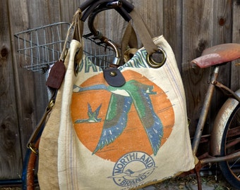 Northland Brand Geese  - Minnesota - Open Tote - Americana OOAK Canvas & Leather Tote W... Selina Vaughan Studios