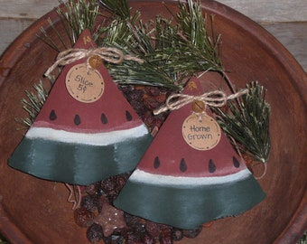 2 Primitive Country - Watermelon Wedges Slices - Fruit - Slices - Bowl Fillers - Ornies - Ornaments - Tucks