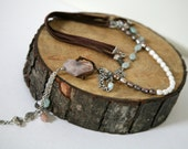 Long Bohemian Necklace, Leather Corded, Gemstone, Dangling Necklace,Turquoise, Pink and Brown,Pearl and Quartz, Boho Style