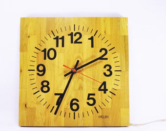 Vintage Welby Wood Wall Clock, Welby Clock, Vintage Wooden Wall Clock by Welby,Woodblock Clock, Working Plug In Wall Clock, Wood grain Clock