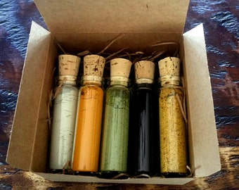 Superfoods for the Face Sample Kit...Bentonite Clay...Activated Charcoal...Turmeric....Moringa Powder...Bee Pollen....