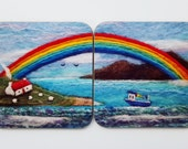 Coasters Set of Two Printed with Bunting Boat and Rainbow Design
