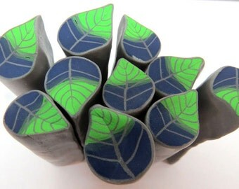Polymer clay millefiore cane - blue-green leaf