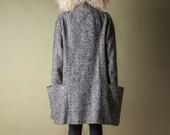 coming soon - tweed voluminous coat / black white minimalist coat / oversized double breasted jacket / m / 1015o