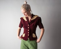 le fleurie 30s 40s velvet lace embroidered peplum jacket / fitted blazer / hourglass jacket / s / 973o