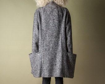 RESERVED. ash & diamond herringbone voluminous coat / black white tweed minimalist coat / oversized double breasted jacket / m / 1015o