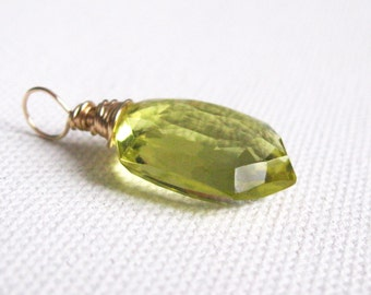 Oro Verde Quartz Sheild Cut Briolette 14k Goldfilled Wire Wrapped Pendant UK Seller Contemporary Yellow Green Gemstone Fashion Jewellery