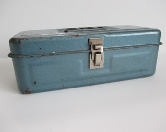 Metal Tacklebox Storage Box Blue and Rusty Vintage