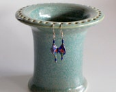 Aqua Green Earring Holder Stoneware Pottery Gift for Her Ready to Ship