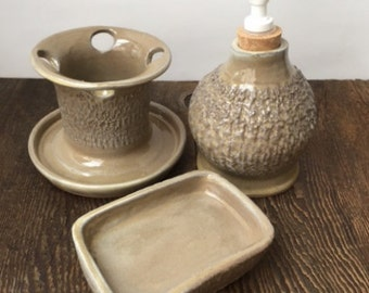 Three Piece Textured Cream Bathroom Set Stoneware Stoneware Clay Pottery Ready to Ship