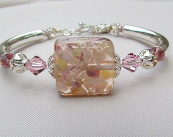 Mystic Pink Lampwork Bangle Bracelet