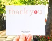 Double Happiness Wedding Thank You Card Set of 50 - Simple Red Chinese Wedding Card - Recycled Paper