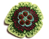 HALF PRICE SALE Poppy felt brooch pin with freeform embroidery - scandinavian style
