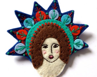 Mexican GUARDIAN ANGEL felt brooch pin with freeform embroidery