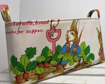 Long Diaper Caddy - Storage Container Basket Fabric Organizer Bin - Peter Rabbit Fabric - Vintage Beatrix Potter Fabric