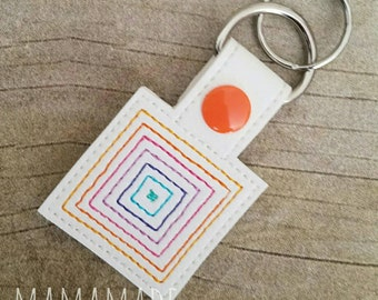 Embroidered Key Chain - LLR Square Snap Tab