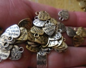 25/50 Bulk Charms Made with Love HEARTS 2 colors Mixed grab bag lot DIY jewelry making Supply