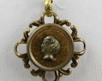 Perfume Button Necklace - Antique Vctorian 1800s Ornate Brass & Velvet Scent Jewelry - Silhouette