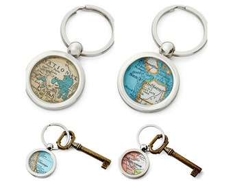 Custom  KeyChain Map Ring Made to Order Your City Fob Groomsmen Gift Dad Mom or Graduate Custom
