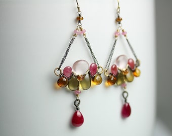 Ruby Citrine and Rose Quartz Chandelier Earrings, Mixed Metals, Long Earrings, Boho Earrings, PInk Stones