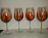 Wine Glasses, Orange/Berry handpainted