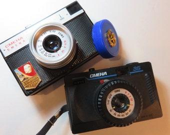 SJK Vintage -- Two Vintage Smena Lomo Lomography Film Cameras, Soviet Union, Russian (1970's-80's)
