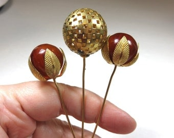 SJK Vintage -- Trio of Older Art Deco hat Pins (1920's-30's)