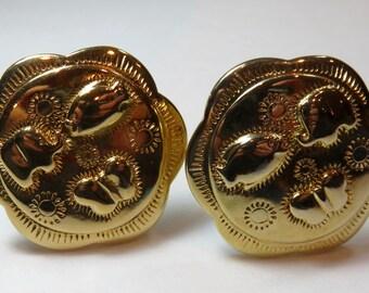 SJK Vintage -- Trifari Signed Southwestern Clip On Earrings, Elephant, Butterfly, Fish, Shiny Gold Tone (1980's)