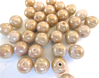Czech glass beads (24) picasso copper sophisticated pearlized  color rounds Bohemia Czech 7mm (24)