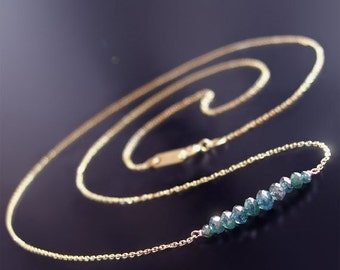 ON SALE 15% OFF Custom made to order - 14k Petite Blue Diamond Necklace