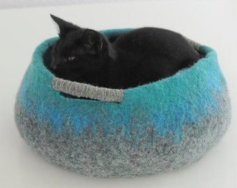 Pet / Dog / Cat Bed / Cave / House / Vessel - Hand Felted Wool - Grey Teal - Crisp Contemporary Design