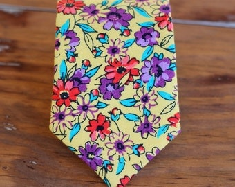 Mens Yellow Floral Necktie, men's red purple flowers cotton necktie, necktie for men and teen, rustic wedding tie, groom's necktie, gift him