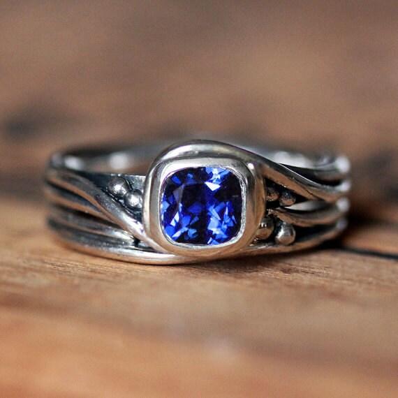 Blue sapphire engagement ring set lab created sapphire
