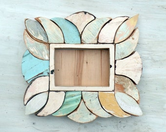 Mosaic picture frame Reclaimed wood frame Wooden Frame 5x7 photo frame Rustic frame Beach picture frame Wood Picture Frame Boho Frame