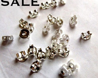 LOW Stock - Silver Plated Butterfly Ear Nuts (144X) (F513) S A L E - 75% off
