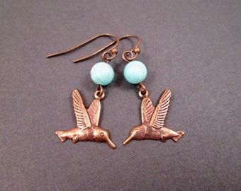 Hummingbird Earrings, Blue Jade Gemstone, Brass Dangle Earrings, FREE Shipping U.S.