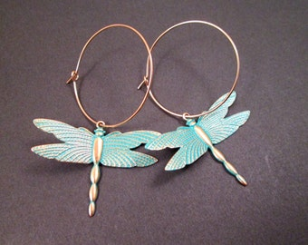 Dragonfly Earrings, Teal verdigris Patina Finish, Gold Hoop Earrings, FREE Shipping U.S.