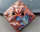 Square 2-hole handmade Raku Button