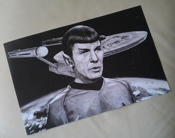 Star Trek 28 x 44cm Poster Print. Mr Spock. Mosaic. Leonard Nimoy. Vulcan