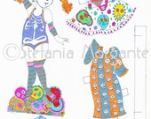DIY Halloween witch scary Smorfietta paper doll-ready to print ,scrapbooking artwork idea-DIY printable with
