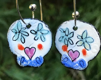 Day of the Dead MADE FROM SCRATCH Enameled Sgraffito Earrings