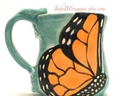 Monarch Butterfly Mug Handmade Wheel Thrown Stoneware Made to Order on Jaded Green Holds 12 Fluid Ounces MG002