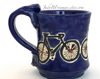 Ceramic Bicycle Mug Handmade Cobalt Blue with Red Dots Great for Dad Personalize It! Made to Order MG0060