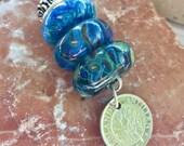 Lampwork Glass Beaded Lariat Necklace Interchangable Boro Borosilicate Handmade - Cozy Up
