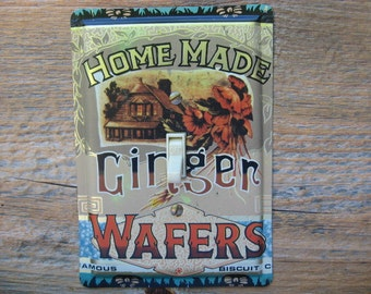 Cottage Chic Decor Light Switch Cover Plate Switchplate Floral Victorian Lighting Made From An Old Homemade Ginger Wafers Tin SP-0199