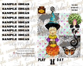 ART TEA LiFE Dreamy Play Paper Dolls Collage Sheet digital file printable download decoupage clip art scrapbook journal page tag card