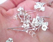 4mm flat pad silver plated ear studs with ear nuts, pick your amount