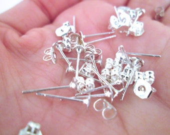 4mm flat pad silver plated ear studs with ear nuts, pick your amount, C195