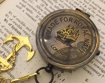 Compass on a Pocket Watch Chain Boyfriend Gift