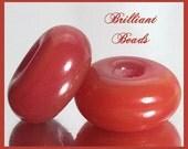 Reserved for Barbara...10 Carnelian Opalino Glass Beads, Handmade Lampwork Beads SRA